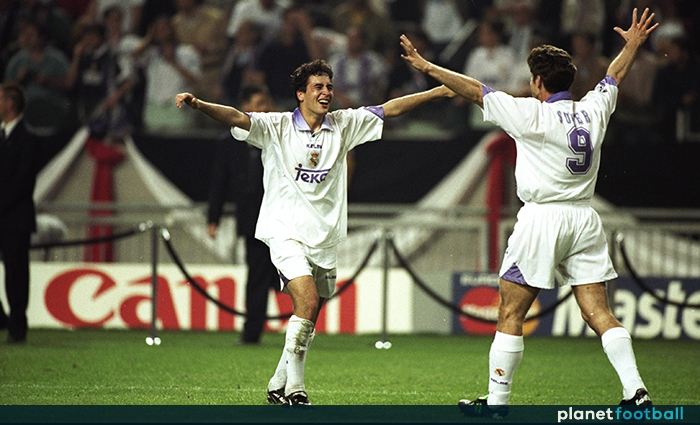 50ce1b18d 20 May 1998  Raul and Davor Suker of Real Madrid celebrate after the  Champions League final against Juventus at the Amsterdam Arena in Holland.