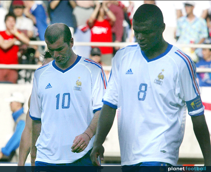 PA PHOTOS ABACA – UK USE ONLY   Zinedine Zidane and Marcel Desailly of  France look dejected as they suffered the acute embarrassment of becoming  the first ... d958cb388