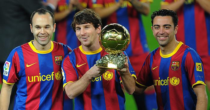 Andres Iniesta Lionel Messi Xavi Planet Football