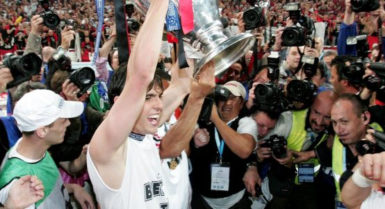 AC Milan's Kaka with the Champions League trophy. May 2007.