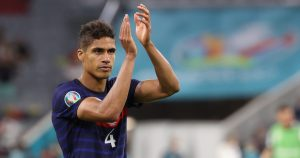 Raphael Varane applauds the fans after France beat Germany at Euro 2020.