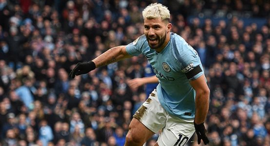 Sergio Aguero celebrates scoring his hat-trick goal in Manchester City's win over Chelsea