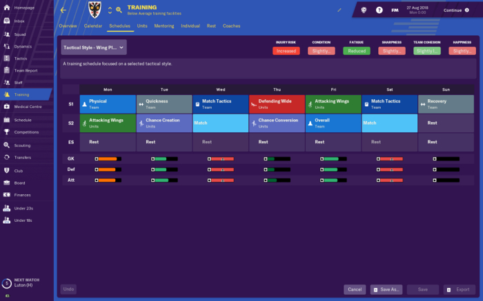 Five of Football Manager 2019's best new features: Training