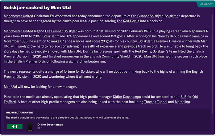 Football Manager sims three years with Ole Gunnar Solskjaer