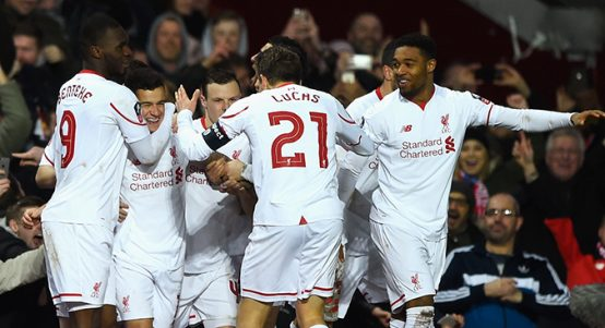 Liverpool celebrate Philippe Coutinho goal in FA Cup fourth-round replay at West Ham