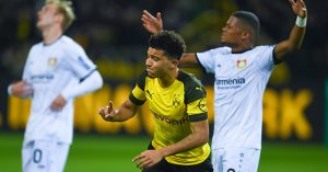Jadon Sancho celebrates scoring goal for Dortmund against Leverkusen