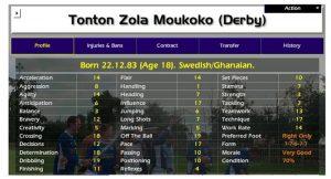 Tonton Zola Moukako stats on Championship Manager