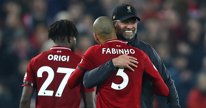 Jurgen Klopp hugs Fabinho after Liverpool beat Watford