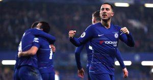 Chelsea's Eden Hazard celebrates goal v Tottenham