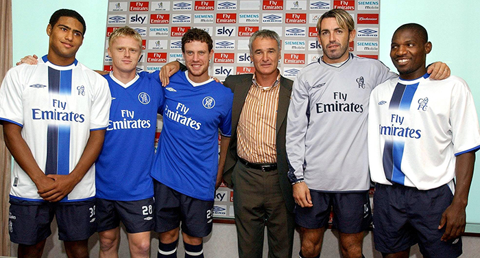 Chelsea signings Glen Johnson, Damien Duff, Wayne Bridge, manager Claudio Ranieri, Marco Ambrosio and Geremi