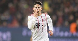James Rodriguez celebrates scoring goal for Bayern Munich