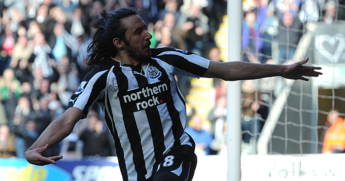 Newcastle United's Jonas Gutierrez celebrates scoring goal