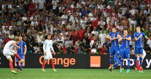 Harry Kane takes a free-kick for England vs Iceland