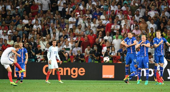Harry Kane takes a free-kick for England vs Iceland