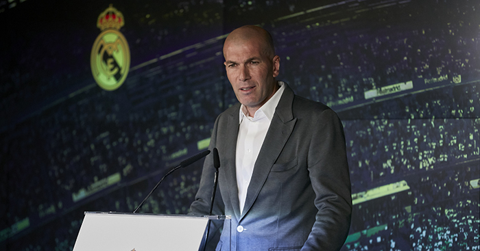 Zinedine Zidane delivers a speech during his presentation as a new Real Madrid's head coach