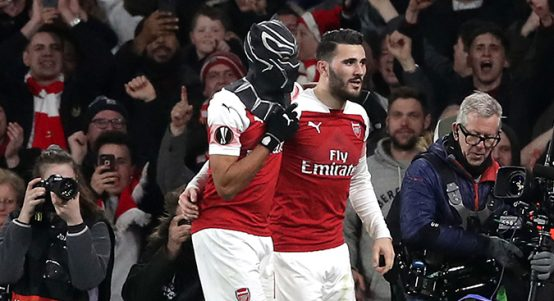 Pierre-Emerick Aubameyang celebrates goal for Arsenal vs Rennes