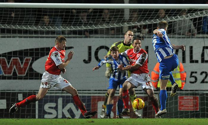 Hartlepool United's Jonathan Franks scores a late winner vs Morecambe