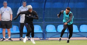 Marcus Rashford and Trent Alexander-Arnold in England training
