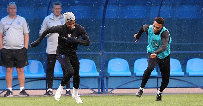 Marcus Rashford and Trent Alexander-Arnold in England training