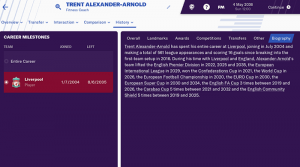 Trent Alexander-Arnold on Football Manager