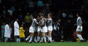Juventus celebrate Michel Platini penalty goal vs Liverpool