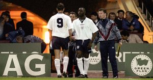 Andy Cole replaces Teddy Sheringham for England debut