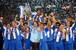 FC Porto players lift the UEFA Champions League Trophy