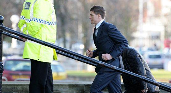 Steven Gerrard arrives at court