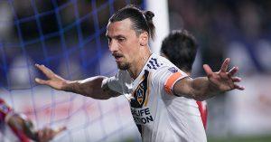 Zlatan Ibrahimovic celebrates scoring for LA Galaxy