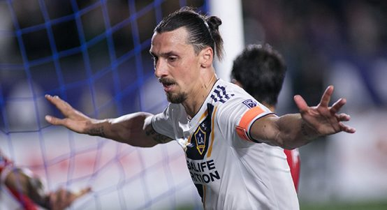 Zlatan Ibrahimovic celebrates scoring for LA Galaxy