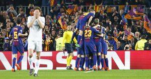 Barcelona celebrate goal vs Chelsea