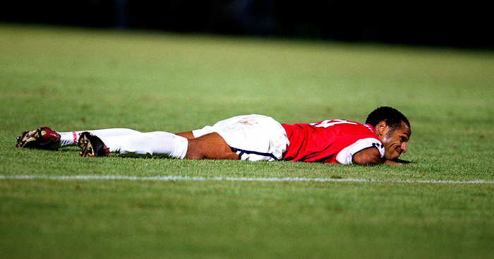 Arsenal's Thierry Henry grimaces after missing a chance