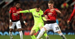 Scott McTominay tackles Lionel Messi