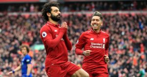 Mohamed Salah celebrates goal for Liverpool vs Chelsea
