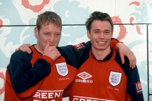 David Batty and Graeme Le Saux in England training