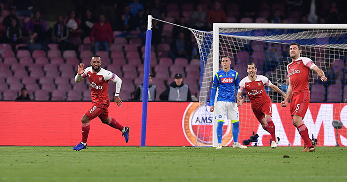 Alexandre Lacazette celebrates free-kick for Arsenal v Napoli
