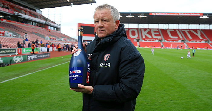 Chris Wilder celebrates Sheffield United's promotion