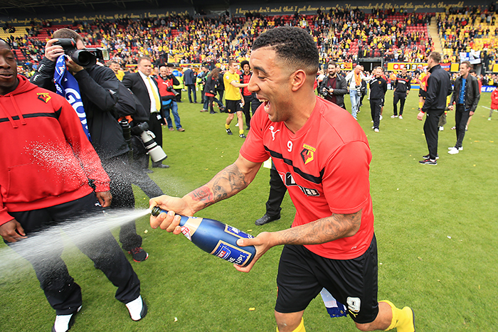 Troy Deeney celebrates Watford's promotion