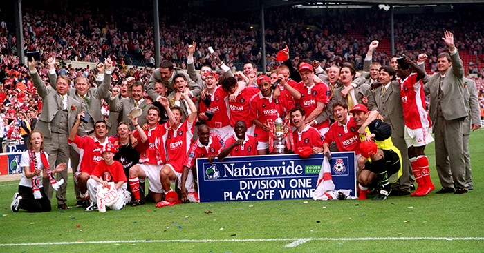 Charlton celebrate play-off final win