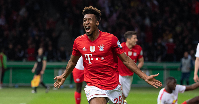 Kingsley Coman celebrates goal