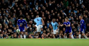 Vincent Kompany scores against Leicester City