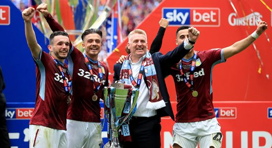 Aston Villa celebrate promotion