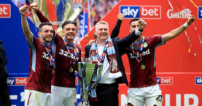 Aston Villa celebrate promotion