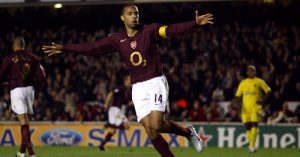 Arsenal's Thierry Henry celebrates the first goal