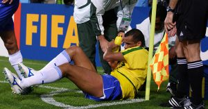 Rivaldo feigns being hit in the face