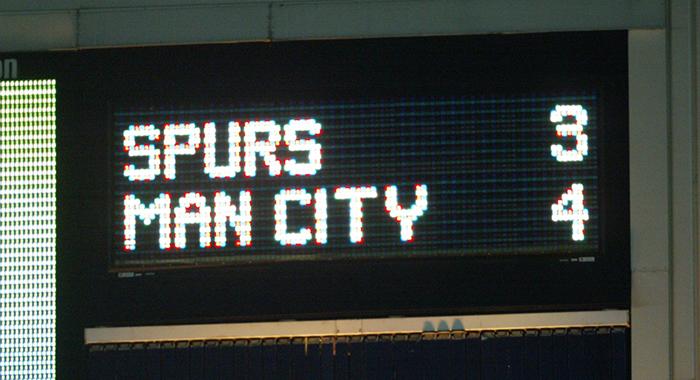 Spurs 3 Man City 4 scoreboard
