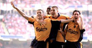 Michael Owen celebrates goal against Arsenal