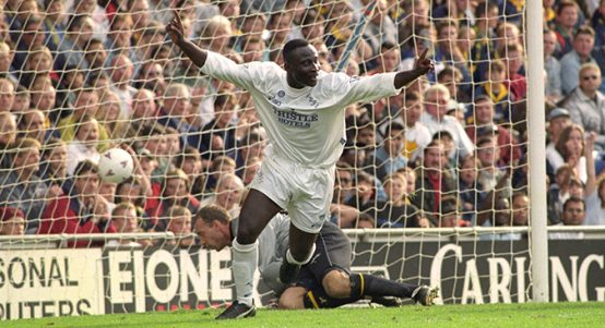 Tony Yeboah celebrates scoring