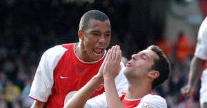 Gilberto Siilva celebrating for Arsenal