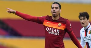 Chris Smalling playing for Roma against Genoa in March 2021.